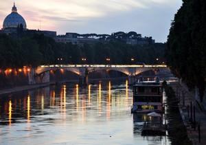 Ponte Mazzini col Cupolone al tramonto