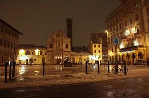 Piazza d'Ognissanti sotto la neve