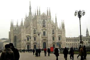 Gennaio in piazza Duomo a MIlano