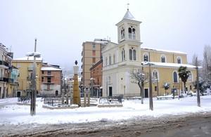 Largo Madonna delle Grazie in questi giorni di freddo e neve