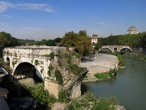 Roma - Ponte Rotto, Isola Tiberina e Ponte Fabricio da Ponte Palatino