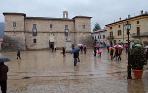 Piazza San Benedetto in the rain