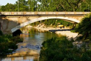 Lavori argini del Fiume Potenza a Passo di Treia sotto il Ponte