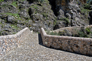 il dosso del ponte a schiena d'asino sul Raganello