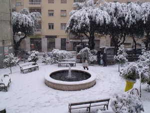 La piazzetta dei funghi con la neve