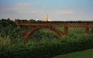 Il ponte di ferro di Paderno d'Adda al tramonto