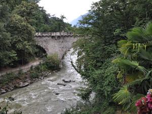 il ponte Antico dalla terrazza di un bar di Merano