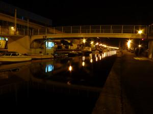 Un ponte di viareggio in notturna
