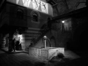 Torino, fontana del borgo medievale di notte