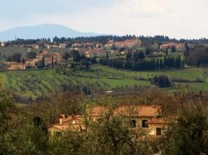 Panorama di verdi colline del Chianti