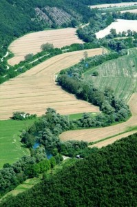 La valle reatina con il serpentone del  fiume Velino