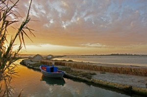tramonto sulle saline di Marsala