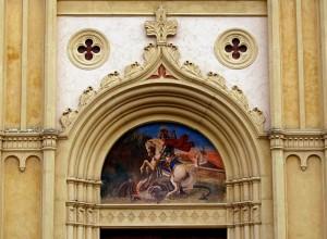 La lotta di San Giorgio con il drago.