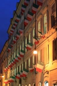 Palazzo con bandiere
