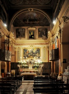 Il seicentesco interno barocco-rococò della Chiesa di S. Orsola