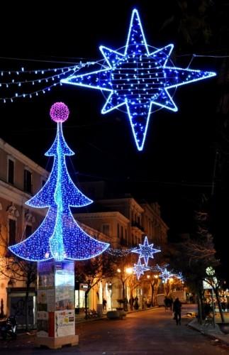 Foggia - Albero e stelle di Natale in Corso Vittorio Emanuele II
