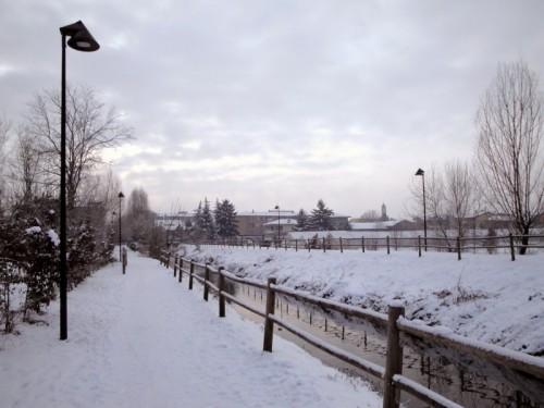 Casalpusterlengo - Prima neve sul passeggio
