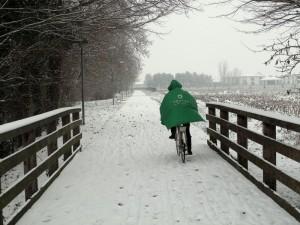 Biciclettando nella neve.