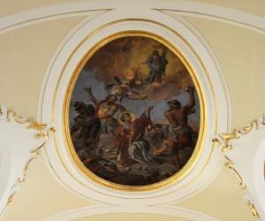 Affresco ovale del martirio di Santo Stefano
