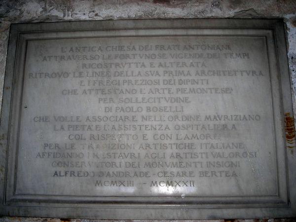 Buttigliera Alta - Abbazia di SantAntonio di Ranverso - Lapide a ricordo della ristrutturazione dellAbbazia di SantAntonio di Ranverso.jpg